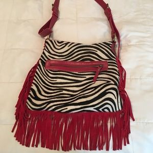 Fringe animal print purse